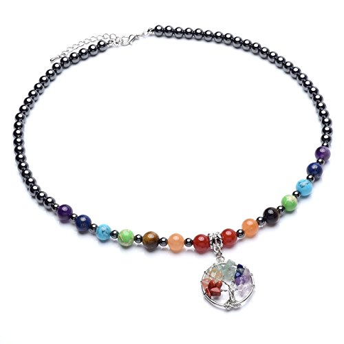 Top Plaza 7 Chakra Reiki Healing Crystals Natural Gemstone Beads Hematite Black Metal Magnetic Therapy Elastic Bracelets Necklaces Set (7 Chakra - Festival Plaza