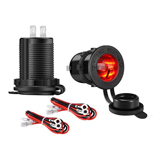 - YonHan 2-Pack 12V Cigarette Lighter Socket Power Outlet Receptacle with LED Indicator and Wire Fuse DIY Kit for Car Marine Motorcycle ATV RV Scooter and More - Red
