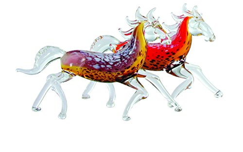 Wild Horse Art Glass Figurines - Set of Two (Horse Racing Figurines)