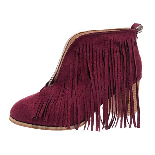 LONGDAY ⭐ Flats-Shoes Womens Western Fringe Booties Cowboy Low Heel Fall Ankle Short Boots Shoes Tassels Chukka Boot Red