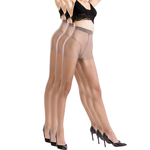 BONAS Pantyhose 3pairs Womens Silk Reflections Sheer Toe Silky Microfiber Oxygen Tights