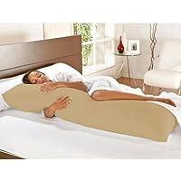 Kit Travesseiro de Corpo + Fronha Mega 02 Peças 100% Algodão - Caqui