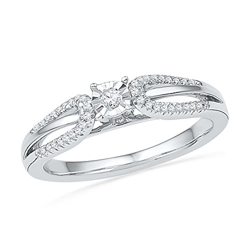 10kt White Gold Womens Round Diamond Solitaire Open-shank Bridal Wedding Engagement Ring 1/6 Cttw (Open Ring Shank)