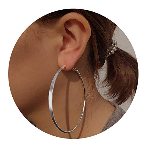 (Large Hoop Earrings for Women - Big Hoop Earrings Gift for Women,idea Birthday Gift for Party,Daily, (Front Flat Silver))
