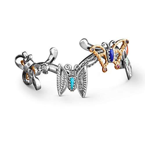 American West Sterling Silver & Brass Size Medium Butterfly Cuff Bracelet ()
