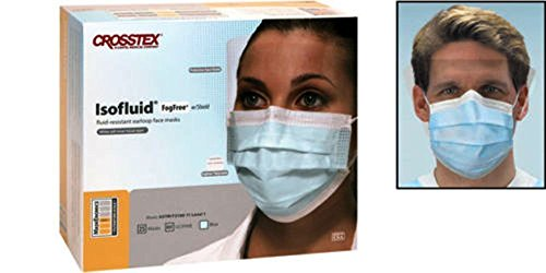 Crosstex Isofluid Fog Free Facemasks with Faceshield Blue 25/Box by Crosstex