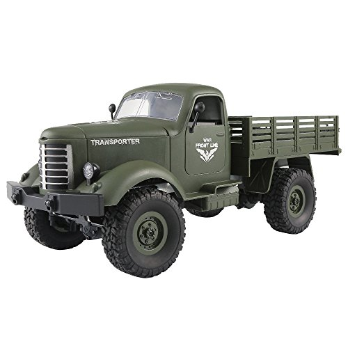 Littleice JJRC Q61 RC Truck 1/16 2.4GH Remote Control 6WD Tracked Off-Road Military Truck Car RTR Toy Kids (Green) -