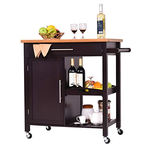 Giantex Kitchen Trolley Cart Wood Rolling Island Cart Home Restaurant Kitchen Dining Room Serving Utility Cart w/Bamboo Top Storage Cabinet Bigger Drawer Removable Tray Shelf, Brown - Kitchen Dining Islands