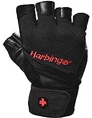 Harbinger Heren Pro Pols Wrap Gewichtheffen, lederen palmbescherming, workout fitness handschoenen, zwart, L