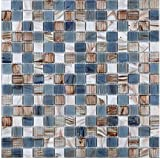 Hand Painted Gold Line Glass Mosaic Tile Perfect for Kitchen Backsplashes and Shower Home wall decoration,TCRR020 (Box of 10.76 sq ft, Blue)