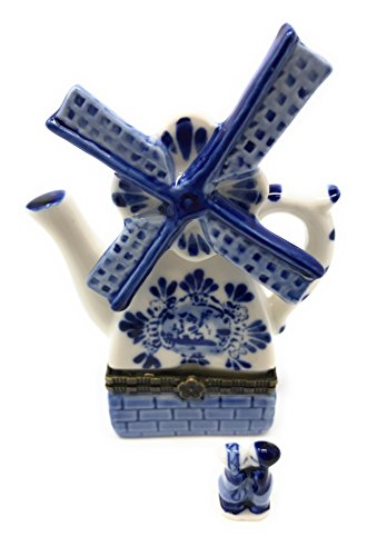 Porcelain Holland Windmill Hinged Lid Trinket Box with Tiny Trinket Inside, By ArtGifts, ()
