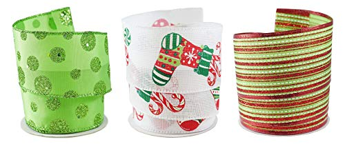 Festive Christmas Stockings Fabric Wired Ribbon #40-2.5