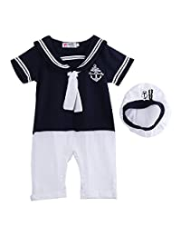 Baby Boy Girl Anchor Sailor Navy Striped Photo Props Romper&Hat Outfit
