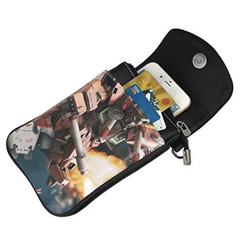 Hdadwy mobiltelefon crossbody väska gundam anime kvinnors crossbody handväskor handväska lätta väskor läder mobiltelefon hölster plånbok fodral axelväskor med justerbar rem