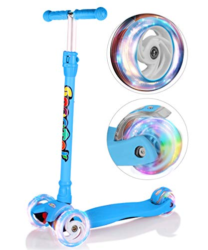 OUTON Kick Scooter for Kids 3 Wheel Lean to Steer Adjustable Height PU 4 LED Flasing Wheels Blue by OUTON