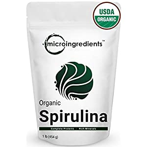 Micro Ingredients Pure Organic Spirulina Powder,1 Pound, Best Superfoods for Rich Vitamins, Minerals & Protein. Non-Irradiated, Non-Contaminated, Non-GMO and Vegan Friendly.