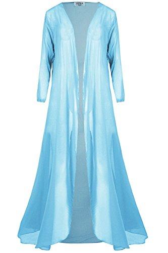 Womens Ladies Chiffon Waterfall Open Front Long Sleeve See Thru Maxi Cardigan Sky Blue