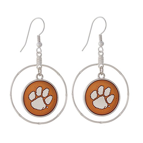FTH Clemson Tigers Silver Tone Fishhook Earrings with Orange and Silver Paw Charm Inside Silver Tone Ring (Clemson Paw University Earrings)