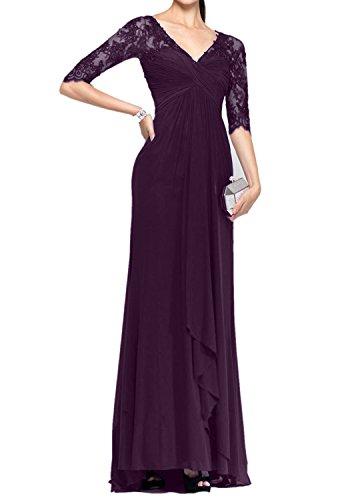 Bodenlang Charmant Traube Ballkleider Blau Brautmutterkleider Abendkleider Langarm Damen 3 4 Royal Spitze 1vw4Rq1