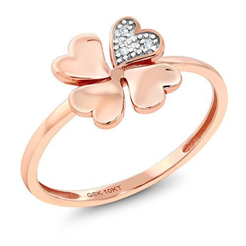 10K Solid Rose Gold White Diamond Clover Shape Women's Engagement Ring