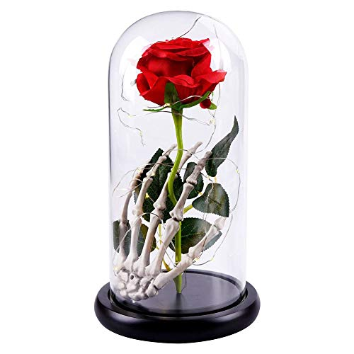 (Qianren Everlasting Rose Flower in Glass Dome on Wooden Base with Skeleton Hand and Light)