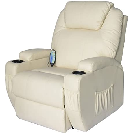 HomCom PU Leather Heated Vibrating 360 Degree Swivel Massage Recliner Chair With Remote Cream