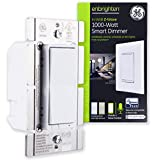 GE Enbrighten Z-Wave Plus 1000W Smart Dimmer Switch, for Incandescent/Halogen Bulbs ONLY, NO NEUTRAL REQUIRED, White & Lt. Almond, Zwave Hub Required, Works with SmartThings, Wink, Alexa, 14299