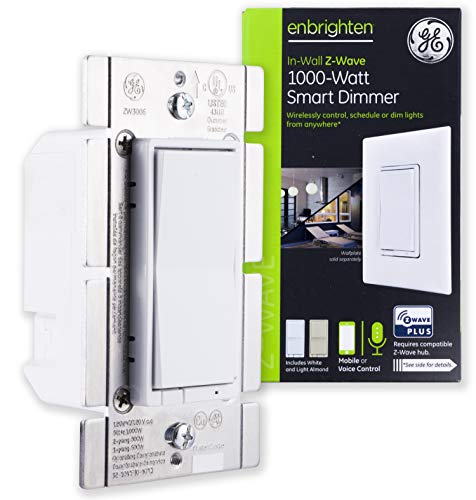 GE Enbrighten Z-Wave Plus 1000W Smart Dimmer Switch, for Incandescent/Halogen Bulbs ONLY, NO NEUTRAL REQUIRED, White & Lt. Almond, Zwave Hub Required, Works with SmartThings, Wink, Alexa, 14299 ()