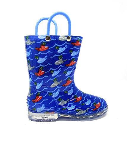 Image of Zac & Evan Toddler Boys Printed High Cut Puddle Proof Rain Boots Submarine Size 9/10