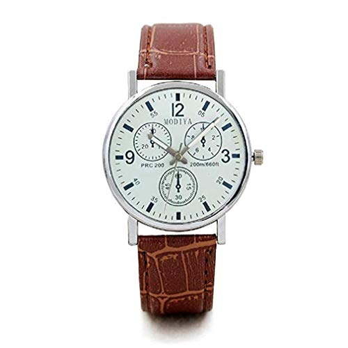 Windoson Mens Quartz Watches Luxury Blue Glass Face Leather Band Wrist Watch Alloy Analog Classic Business Watches for Men, Mens Watches (B)