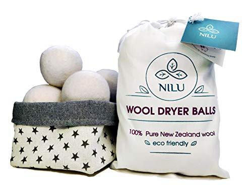 (Natural Wool Dryer Balls - 6-Pack, XL-size - Premium Reusable Chemical-free Fabric Softener - 100% Organic New Zealand Lambs Wool)