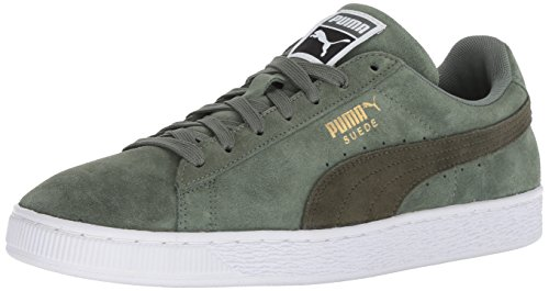 PUMA Men's Suede Classic Sneaker, Laurel Wreath-Forest Night White, 11.5 M US