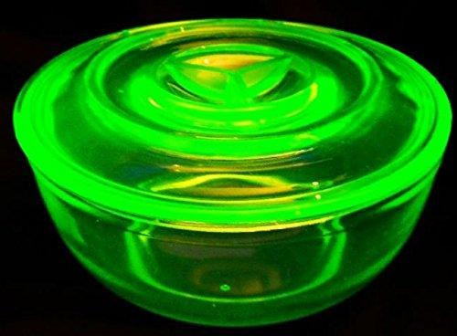 Vintage Depression ~ Vaseline/Uranium Glass Round Serving Dish with Lid (Depression Glass Fruit Bowl)