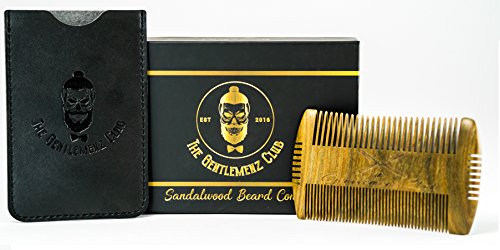 Hand Made Sandalwood Scent Beard Comb – Hatchet style, 4 Styling Sides – Men's Grooming For Beard and Moustache – Fine & Wide Teeth, NO Pulling or Snagging – Free Box & Carrying Pouch