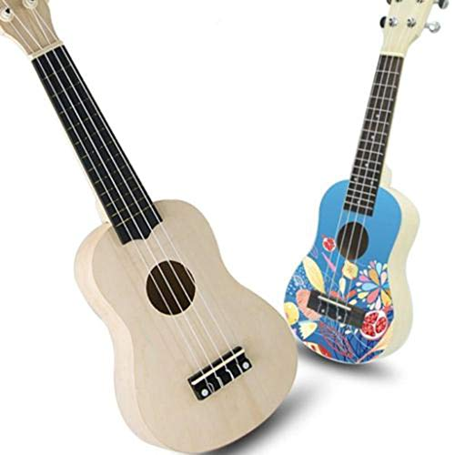 Wffo 21 Inch Simple & Unique Ukulele Hawaii Guitar DIY Kit Wooden Musical Instrument Beginner Kids Gift