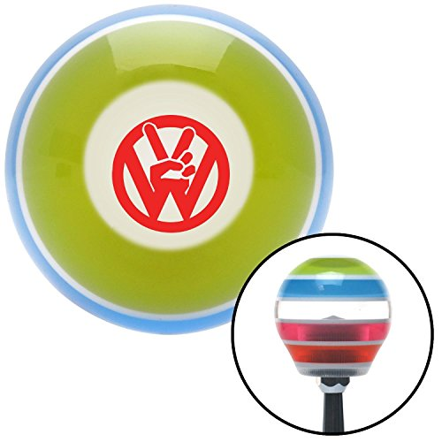 American Shifter 272717 Red VW Peace Stripe Shift Knob with M16 x 1.5 Insert