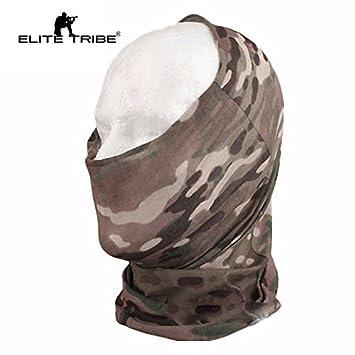 Elite Tribe Airsoft Combate Bufanda Máscara Secado Rápido Multifuncional Capucha Multicam
