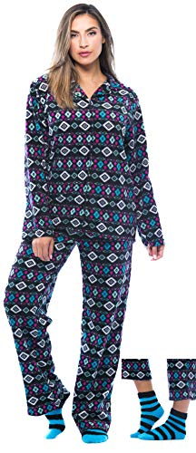 FollowMe Printed Microfleece Button Front PJ Pant Set with Socks, 6370-10238, X-Large, Black - Navajo Nights ()
