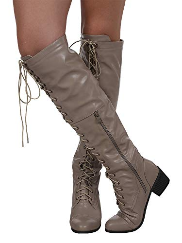 Light Retro Chunky Heel Knee Riding Lace High Women Ivay Up Block Khaki Boots Shoes IYB7q
