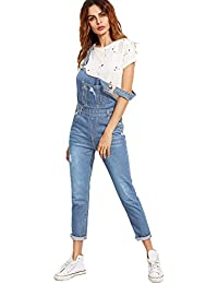 Women's Classic Denim Bib Strap Ripped Pocket Overall