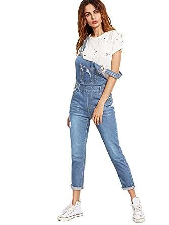 amazon com verdusa women s classic denim bib strap ripped pocket