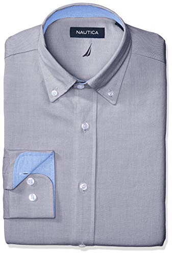 Nautica Men's Classic Fit Button Down Collar Oxford Dress Shirt, Denim, 17.5 34/35 Classic Denim Dress Shirt