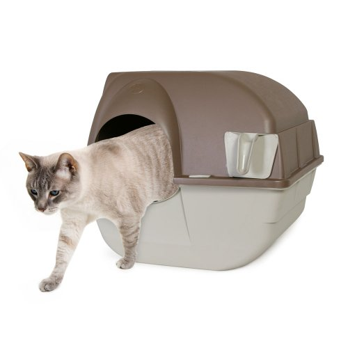 Omega Paw Self-Cleaning Litter Box, Regular, Taupe (Omega Roll And Clean Litter Box Review)