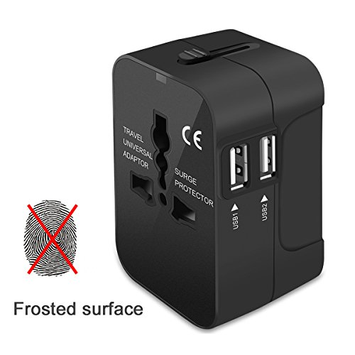 Travel Adapter, VCOO Worldwide All in One Universal Power Converters Wall AC Power Plug Adapter Power Plug Wall Charger with Dual USB Charging Ports for USA EU UK AUS Cell phone laptop - Black