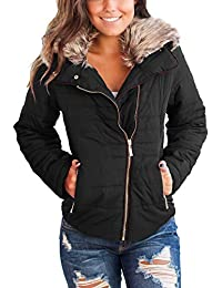 Women Casual Faux Fur Lapel Zip Pockets Quilted Parka Jacket Puffer Coat