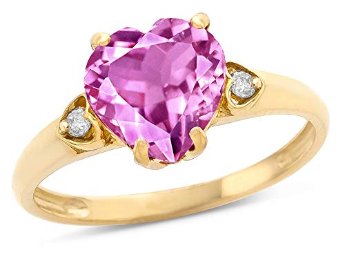(Star K Heart Shaped 8mm Created Pink Sapphire Engagement Promise Wedding Ring 14 kt Yellow Gold Size 5)