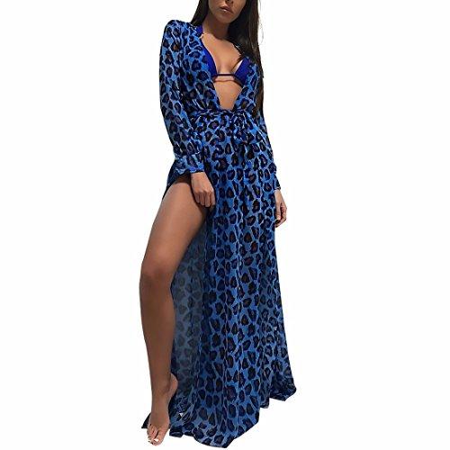 Women's Sexy Split Long Sleeve Chiffon Maxi Cardigan Bikini Cover up Swimwear (Color : Blue, Size : M) by QWKUN