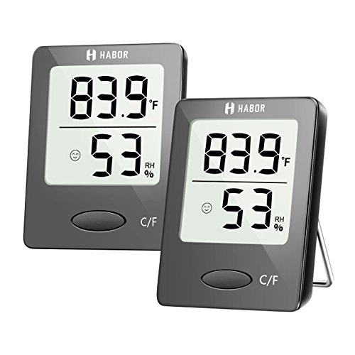 Habor Digital Hygrometer Indoor Thermometer, Stylish Mini Room Thermometer with Humidity Gauge Indicator, Accurate Temperature Humidity Monitor Meter for Home, Office, Greenhouse (2.3 X 1.8 Inch) ()