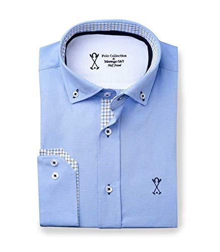 Camisa Manga Larga Semi-Entallada, de Color Liso Azul - 7_3XL ...