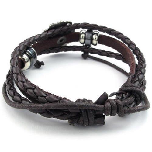 Fleur De Lis Charm Bracelet: KONOV Mens Womens Leather Bracelet, Fleur De Lis Charm